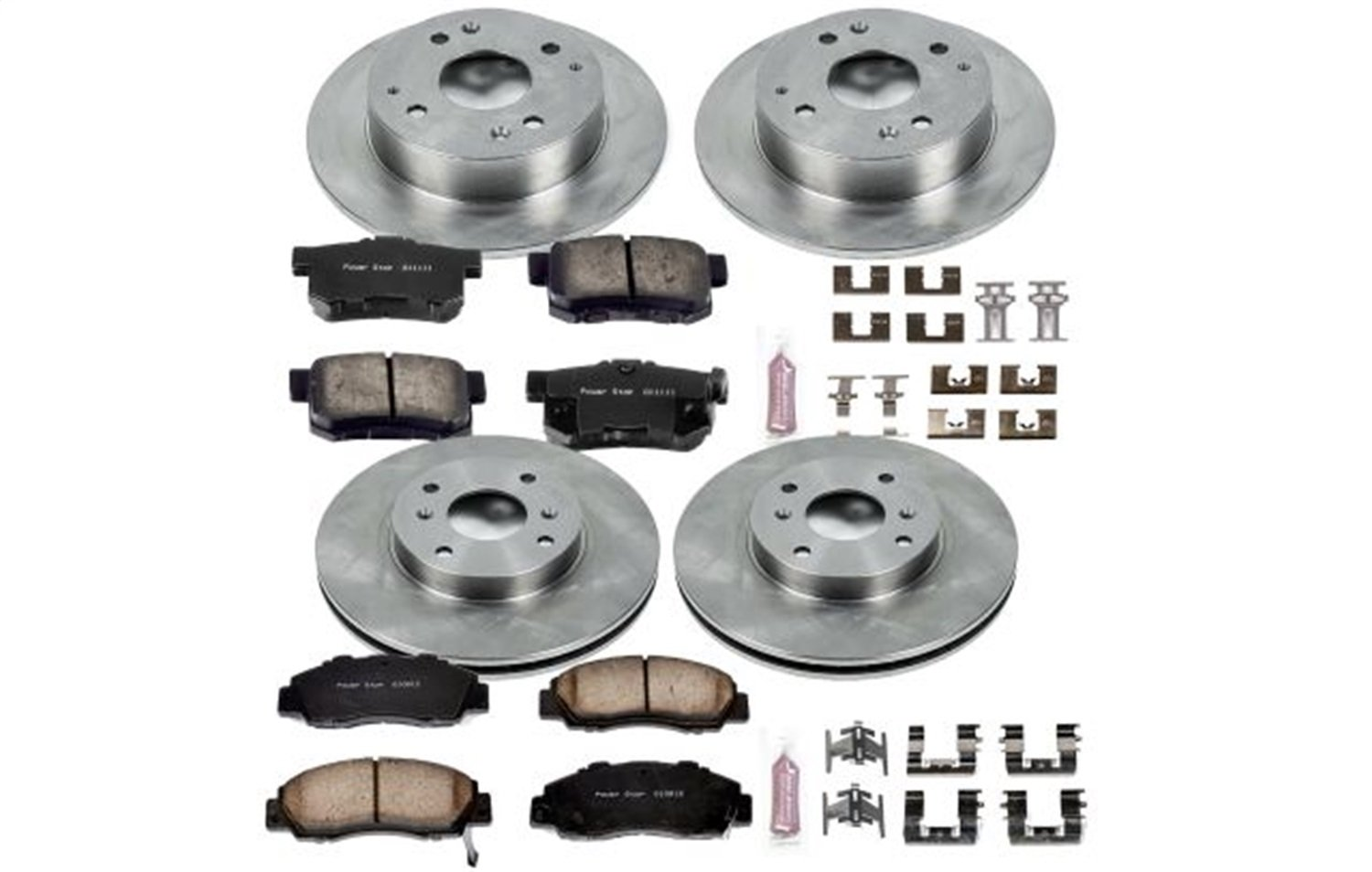 Front//10.21 in Rear OE Replacement Rotors w//Z16 Ceramic Scorched Brake Pads Autospecialty By Power Stop 1-Click Daily Driver Brake Kits Power Stop KOE1238 Autospecialty By Power Stop 1-Click Daily Driver Brake Kits Incl 11.09 in