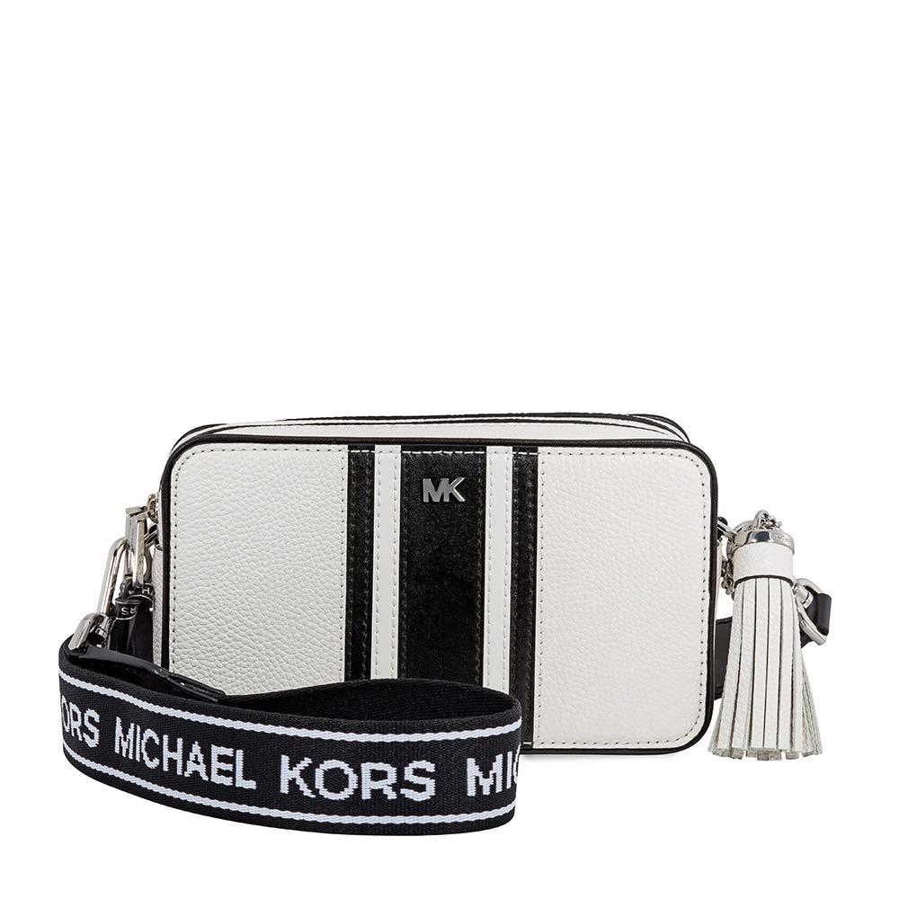 a110b162d Michael Kors Small Logo Tape Camera Bag BLK/OPTICWHT: Handbags: Amazon.com