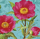 Entertaining with Caspari Victorian Peony Paper Cocktail Napkins, Blue, Pack of 20