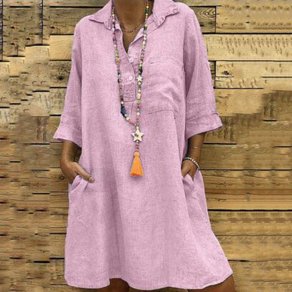 Vestiti Estivi Donna Taglie Forti Estate Vestiti Casual Eleganti Corti Manica Corta V-Collo Cotone E Lino T-Shirt Lunga Manica Corta Vestiti Camicia Donna Mini Abito Gonne