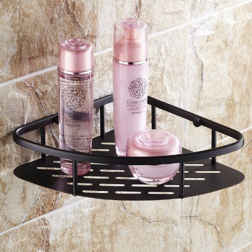 Oil Rubbed Bronze Wall Mount Corner Holder Bathroom Shower Storage Caddy Shelf B00IE4I2FY ブラック ブラック