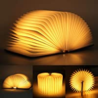 infinitoo LED Folding Wooden Light, Paper Book Lamp, with Magicfly Rechargeable USB Port 500 Lumens for Decor, Magnetic…