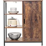 IWELL Floor Storage Cabinet with 3 Open and 2 Adjustable Shelves, Rustic Free Standing Cupboard, Medical Sideboard, Bookshelf
