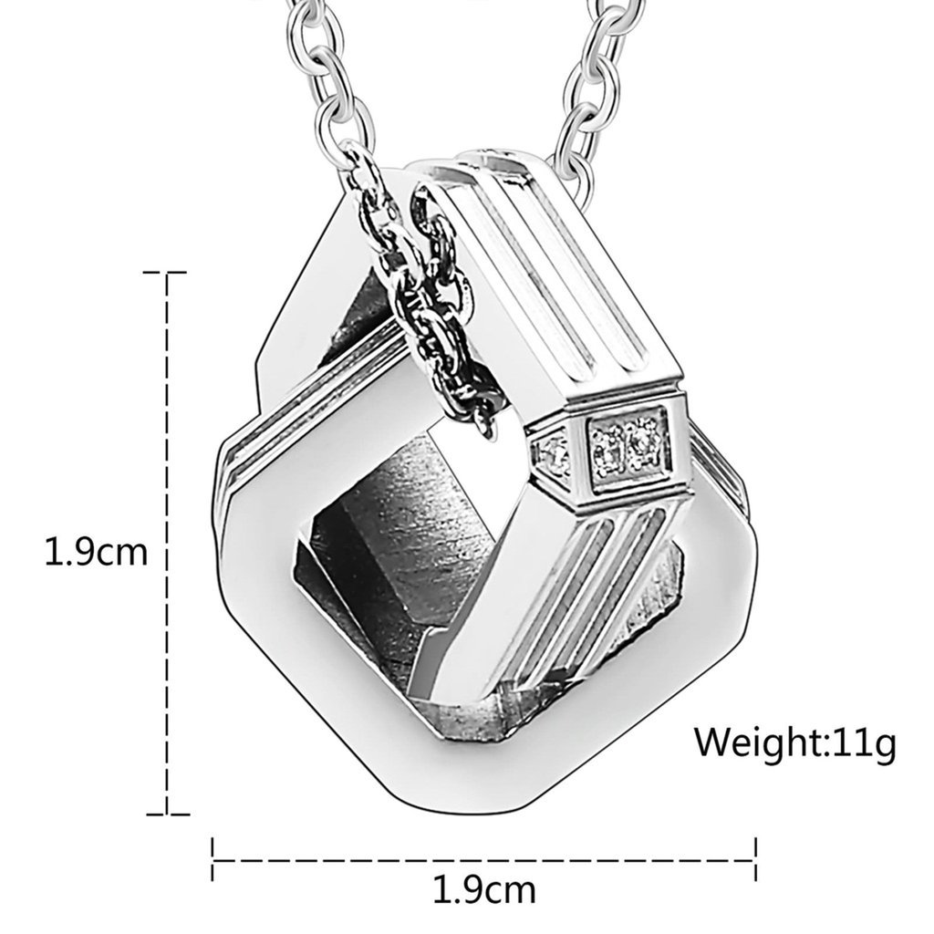 Daesar Stainless Steel Mens Womens Pendant Necklace Couples Square Ring CZ Neckalce