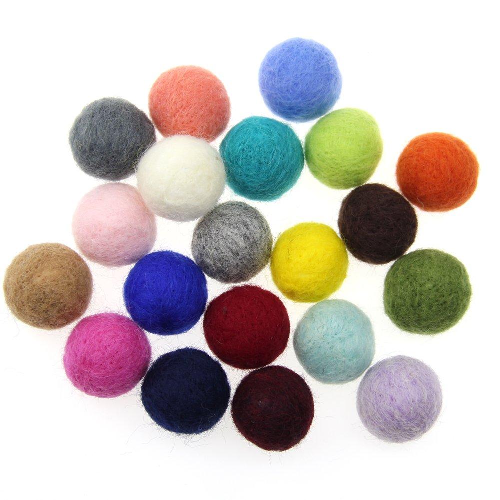 Hot pink Zasy 30mm Needle Wool Felt Balls Foam Filled Wool Felt Pom Pom Home Decor DIY