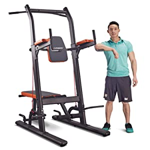 HARISON Multifunction Power Tower Dip Station with Bench High Capacity Home Gym Exercise Equipment with Adjustable Height, Dip Stands, Pull Up, Push Up Bars, VKR for Strength Training Workout