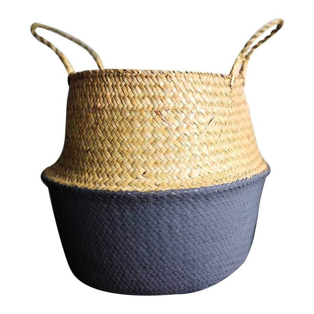 Weite Large Natural Woven Seagrass Belly Storage Basket, Durable Plant Flower Pot Collapsible Nursery Laundry Tote Bag with Handles [36X32CM] (Blue) weitelis