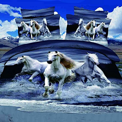 Alicemall 3D Horse Bedding Set Blue Gray Bedding Queen Home Textile Running Horses on Water Polyester 4-Piece Bedding Duvet Cover Set (Quilt Cover , Flat Sheet, 2 Pillow Cases) (Queen)