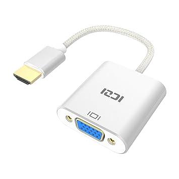 Adaptador HDMI a VGA, ICZI Chapado en Oro, Cuerpo de Aluminio ...