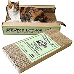 Scratch Lounge - Reversible Cardboard Cat Scratch Post with Floor Refill and Catnip