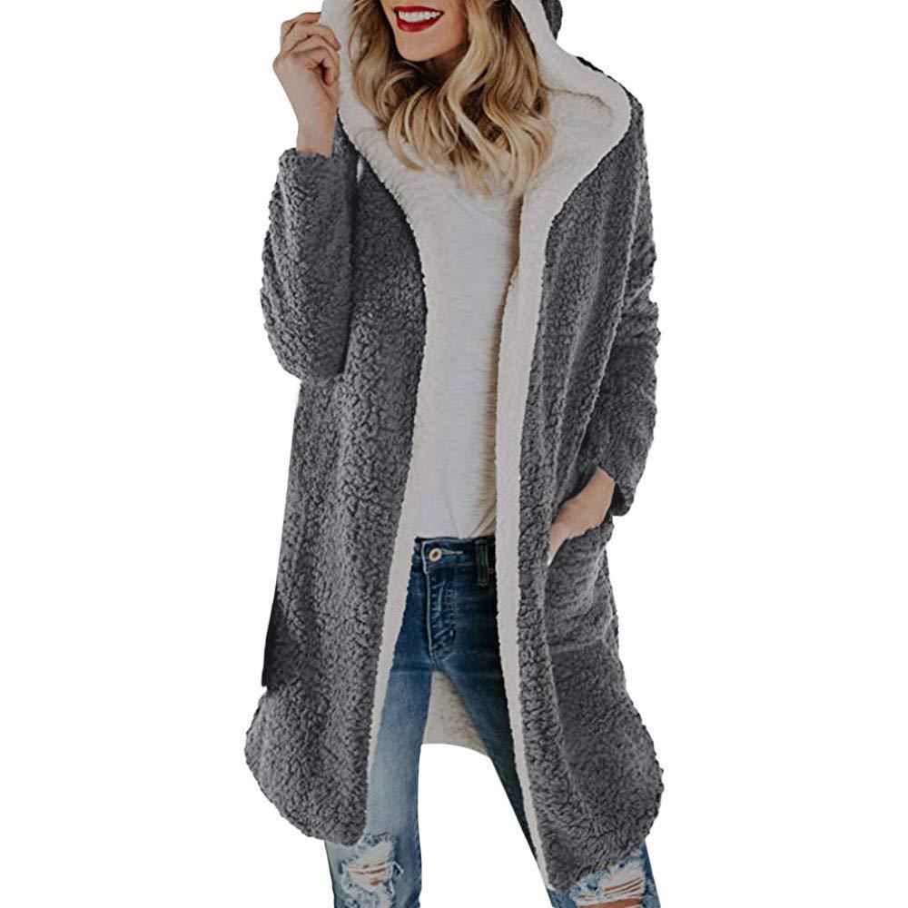 grey Ladies Coat Womens Winter Warm Fashion Personality Wild Warm Soft Atmospheric Fleece Hooded Open Front Cardigan Outwear Coat