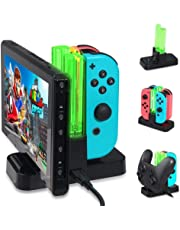 Ladestation für Nintendo Switch,KOBWA Ladestation für Nintendo Switch Controller Ladedock 6 in 1 Joy-Con Pro Controller Ladestation mit einzelnen LEDs Anzeige