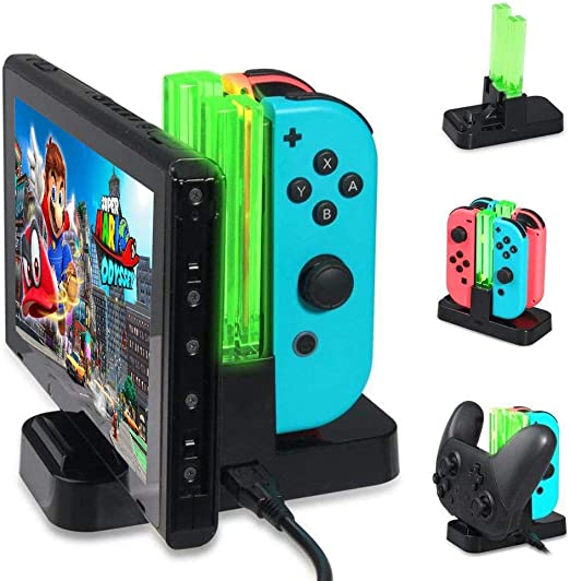 KOBWA - Base de Carga para Nintendo Switch, estación de Carga para Nintendo Switch Controller Dock de Carga 6 en 1 Joy-con Pro Controller con indicador LED Individual: Amazon.es: Hogar