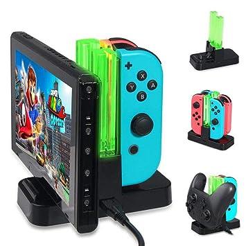 KOBWA - Base de Carga para Nintendo Switch, estación de Carga para Nintendo Switch Controller Dock de Carga 6 en 1 Joy-con Pro Controller con ...