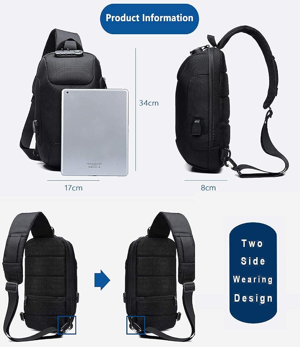 Anti-Diebstahl-Sling-Schulter-Umh/ängetasche Rucksack Wasserdichte Schultertasche mit USB-Ladeanschluss Dunkelgrau OZUKO Herren Diebstahlsichere Brusttasche Umh/ängetasche