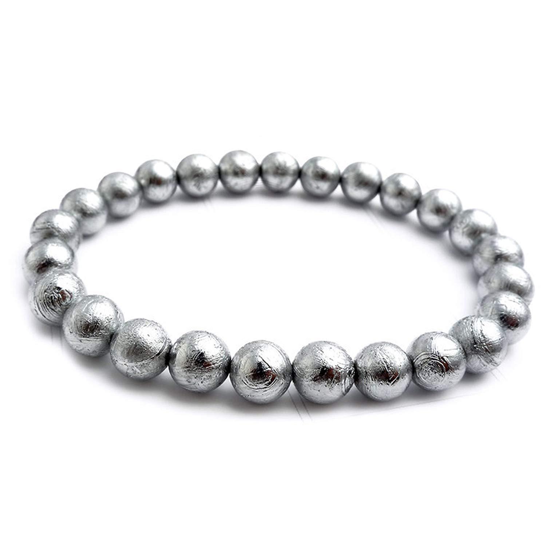 Muko Gemstone 6mm Natural Gibeon Iron Meteorite Silver Plated Round Bead Bracelet Women Men Bracelet AAAA by Muko Gemstone