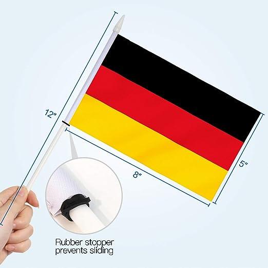 Anley Bandera de Palo de Alemania, Mini Bandera de Mano de 5x8 Pulgadas (12 X 20 cm) con Poste sólido Blanco de 12