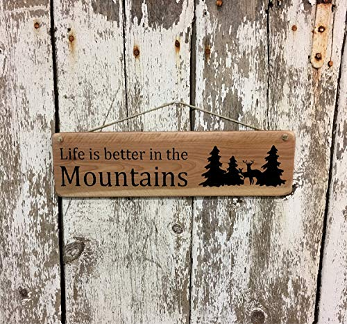 Cabin Log Plaques - Life is Better in The Mountains Sign Reclaimed Wood Sign Cabin Sign Log Home Wood Sign Plaque Decor Mountain Home Log Cabin Wood Sign Plaque Decor Deer Sign Hunting