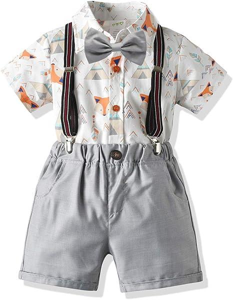 Borlai 4PCS Little Boys Gentleman Suit Fashion Outfits Shirt Shorts Bow Tie Suspenders