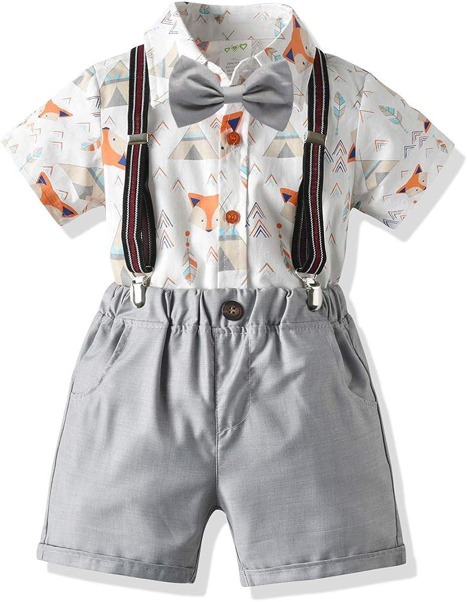 Papillon DaMohony Kids Boy Gentleman Vestiti Camicia Cartoon Pantaloncini Bretelle 4Pcs Abbigliamento Bambino