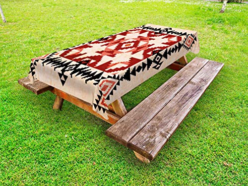 Lunarable Geometric Outdoor Tablecloth, Ethnic Pattern with Rhombuses Squares Ornamental Native American Design, Decorative Washable Picnic Table Cloth, 58 X 84 Inches, Peach Black Ruby (Geometric Native American Designs)