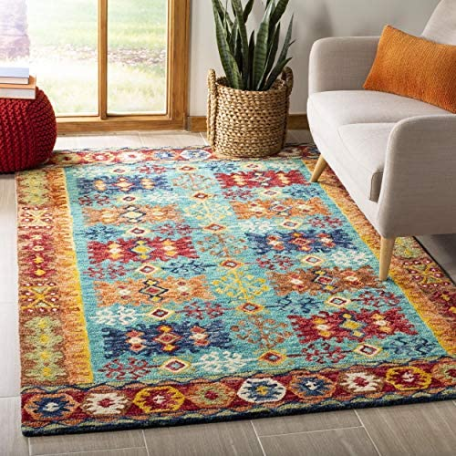 Safavieh Aspen Collection APN503A Handmade Wool Area Rug, 8 x 10 , Blue Red