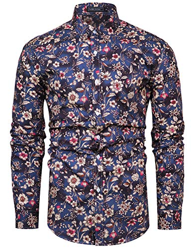 TUNEVUSE Men Floral Dress Shirts Long Sleeve Casual Button Down Shirts 100% Cotton Brown Flower -