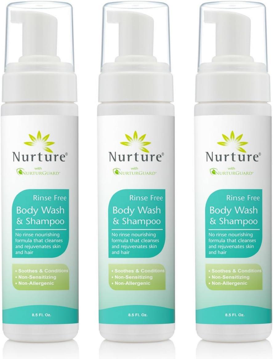 No Rinse Body Wash & Shampoo | Hospital Grade Full Hair & Body Cleansing Foam with Aloe Vera - Non Allergenic - Non Sensitizing - Rinse Free Wipe Away Foaming Cleanser - 12 Bottles