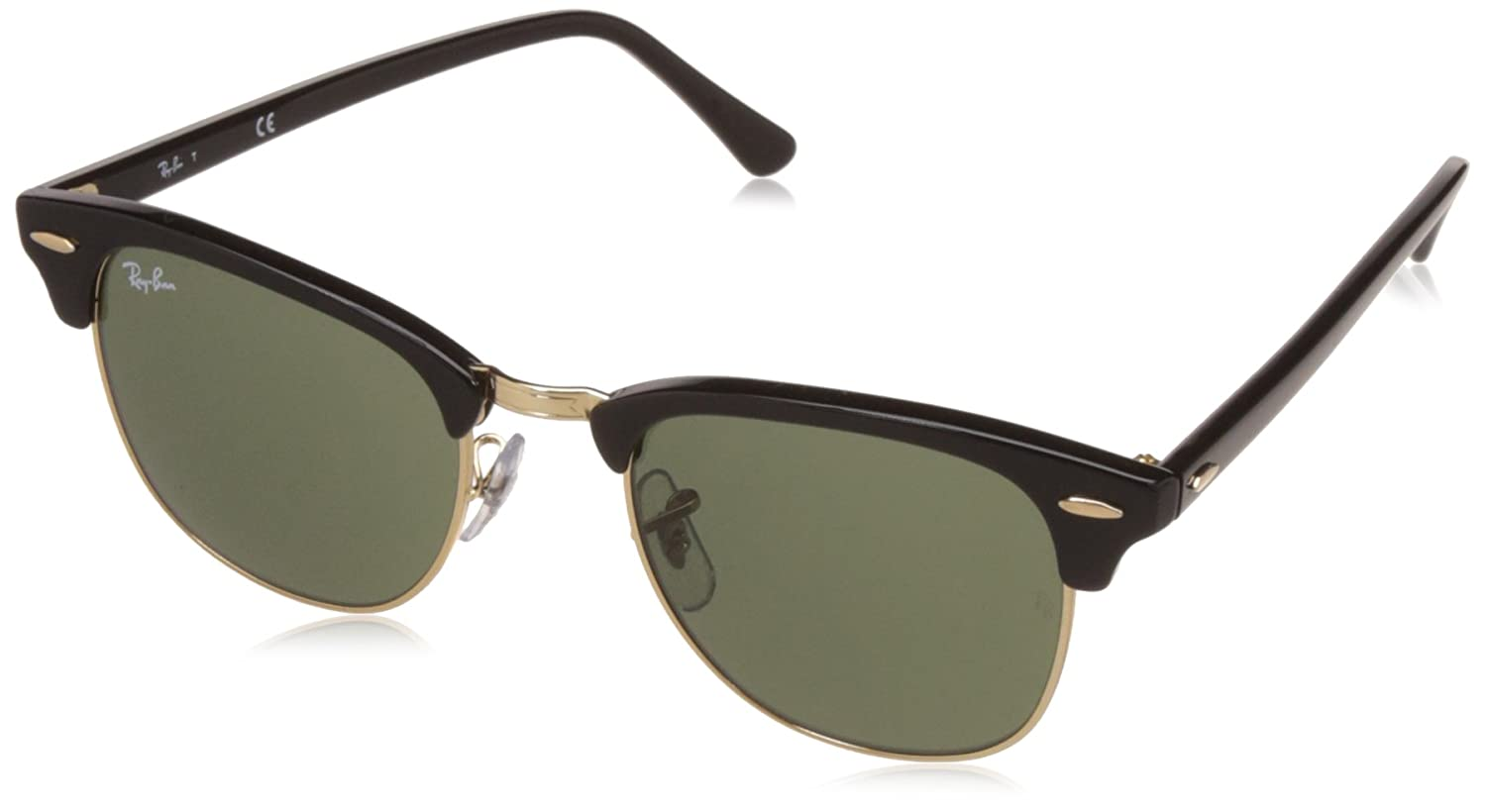 Amazon.com: Ray-Ban CLUBMASTER - EBONY/ ARISTA Frame CRYSTAL GREEN ...