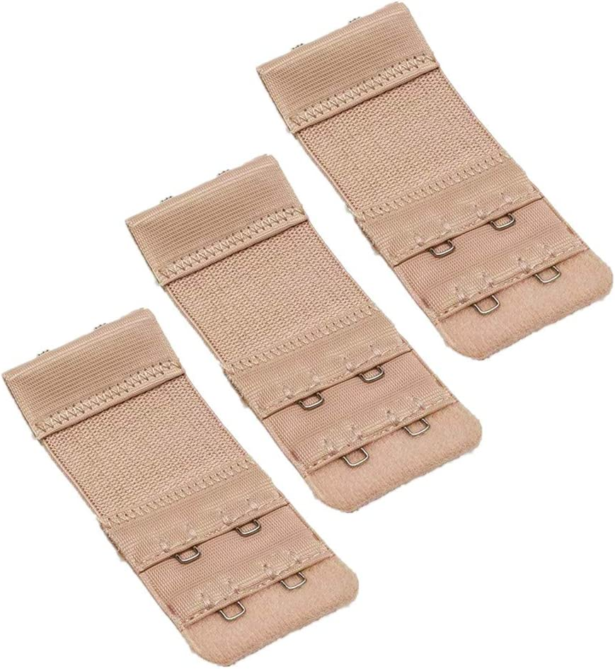2 Hook 3 Row Women Soft Comfortable Bra Extenders Strap Adjustable Extension Pack of 3 White Bra Hooks