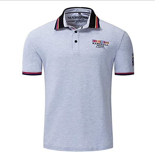 W&TT Hombres 100% algodón Polo Camisa Macho Verano Manga Corta Manga Maciza Color Transpirable Tops tee Bordado Camisetas,Gray,L: Amazon.es: Hogar
