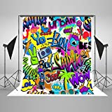 Kate 5ft(W) x7ft(H) Hip Hop Art Photography Backdrop Abstract Graffiti Background Pop Art Retro Comic Style Background for 90th 80th Party Props