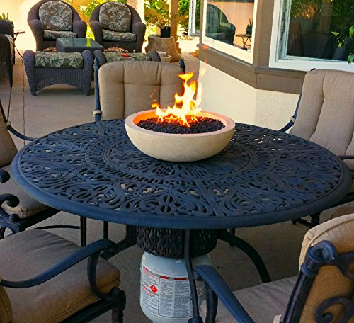 Long Burning Artisan Crafted Propane Fueled Table Top Fire Bowl - Suffolk Tan