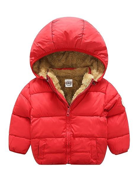 Niños Niñas Invierno abrigo cálido chaqueta de forro polar forrado Desmontable 3-4T Rojo: Amazon.es: Ropa y accesorios