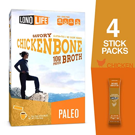 Lonolife Stick chicken Bone Broth, 2.12 oz, 4 ct