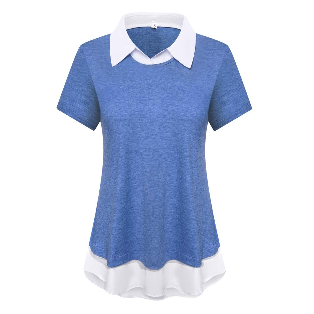 DILISHA Womens Short Sleeve Collared Patchwork Blouse Office Shirts Tunics Tops (Blue,S)
