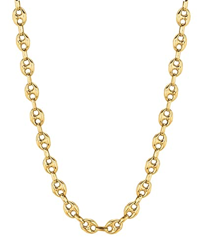 7c3c48bc3 Amazon.com: 14K Yellow Gold Puffed Anchor Mariner Link Necklace 18