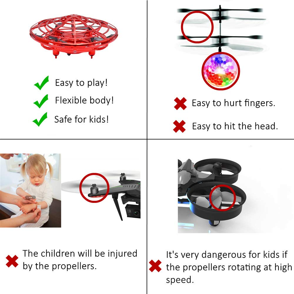 CPSYUB Hand Operated Kids Drone, Hands Free Mini Drone Helicopter for Kids with 4 Sensors, Flying Drone Kids Toys for 4, 5, 6, 7, 8, 9, 10 Year Old Boys or Girls Gifts (Red) by CPSYUB (Image #5)