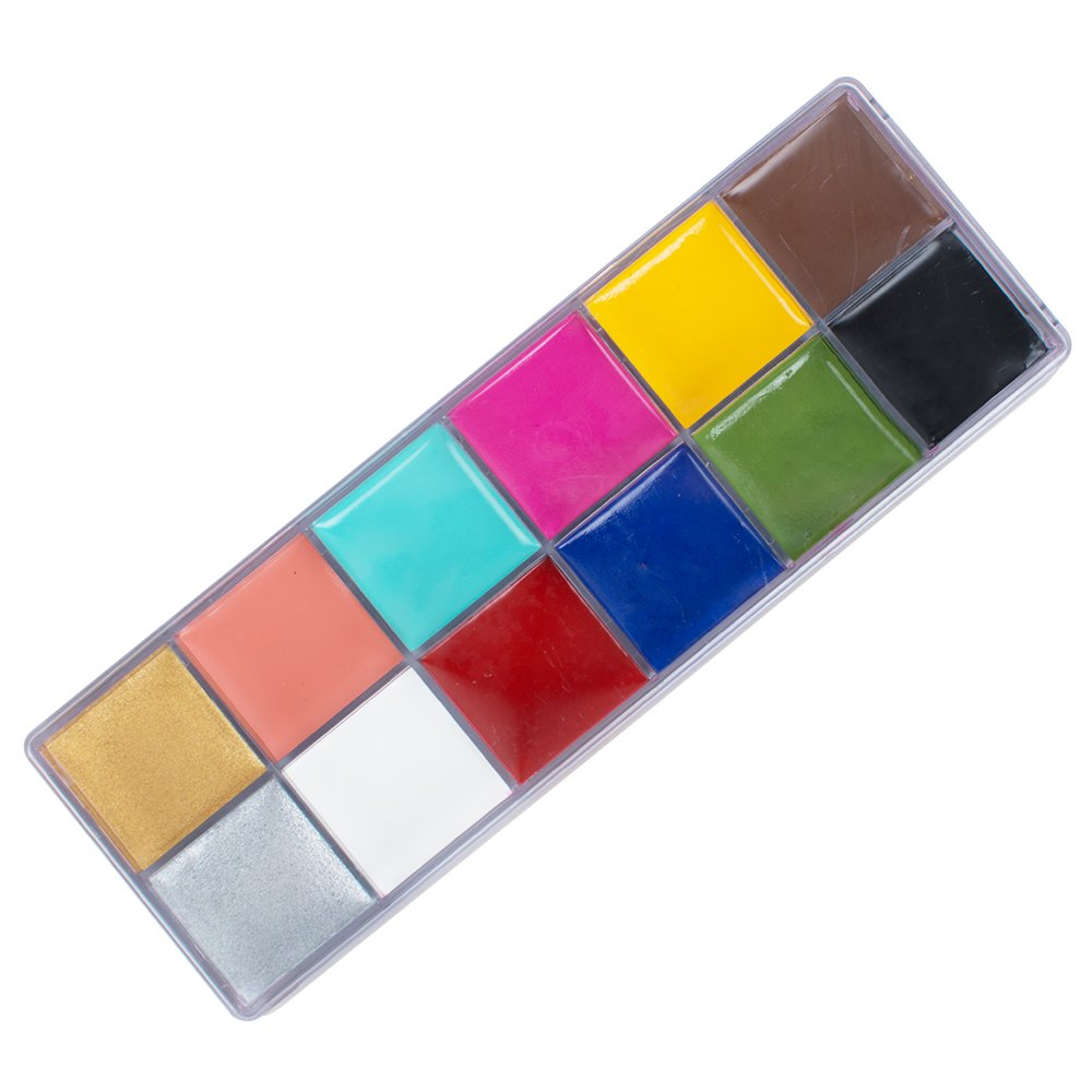 Enshey 12 Flash Colors Face Body Paint Kits Oil Painting Art Party Fancy Make Up Set Clown Makeup Kit with Brush and Palette, Safe & Non-Toxic, Ideal for Adults and Kids Halloween Party Face Painting