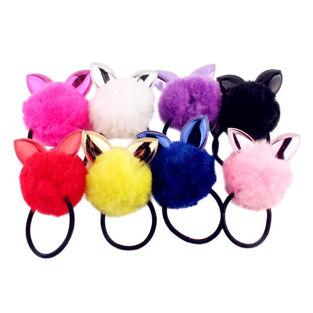 Cute Fluffy Furry Rabbit Ear Hair Scrunchies Kawaii Furry Bunny Ear Hair Tie Colorful Bunny Ear Hair Tie