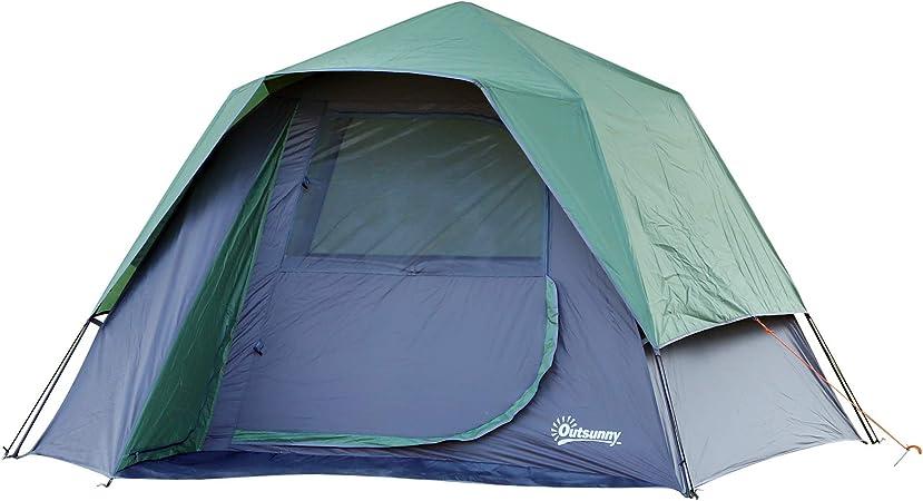 Outsunny Tienda de Campaña para 3-4 Personas Fácil de Desplegar Diseño 2 en 1 Pop-up con Gancho para Luz de Camping 250x194x160 cm Verde