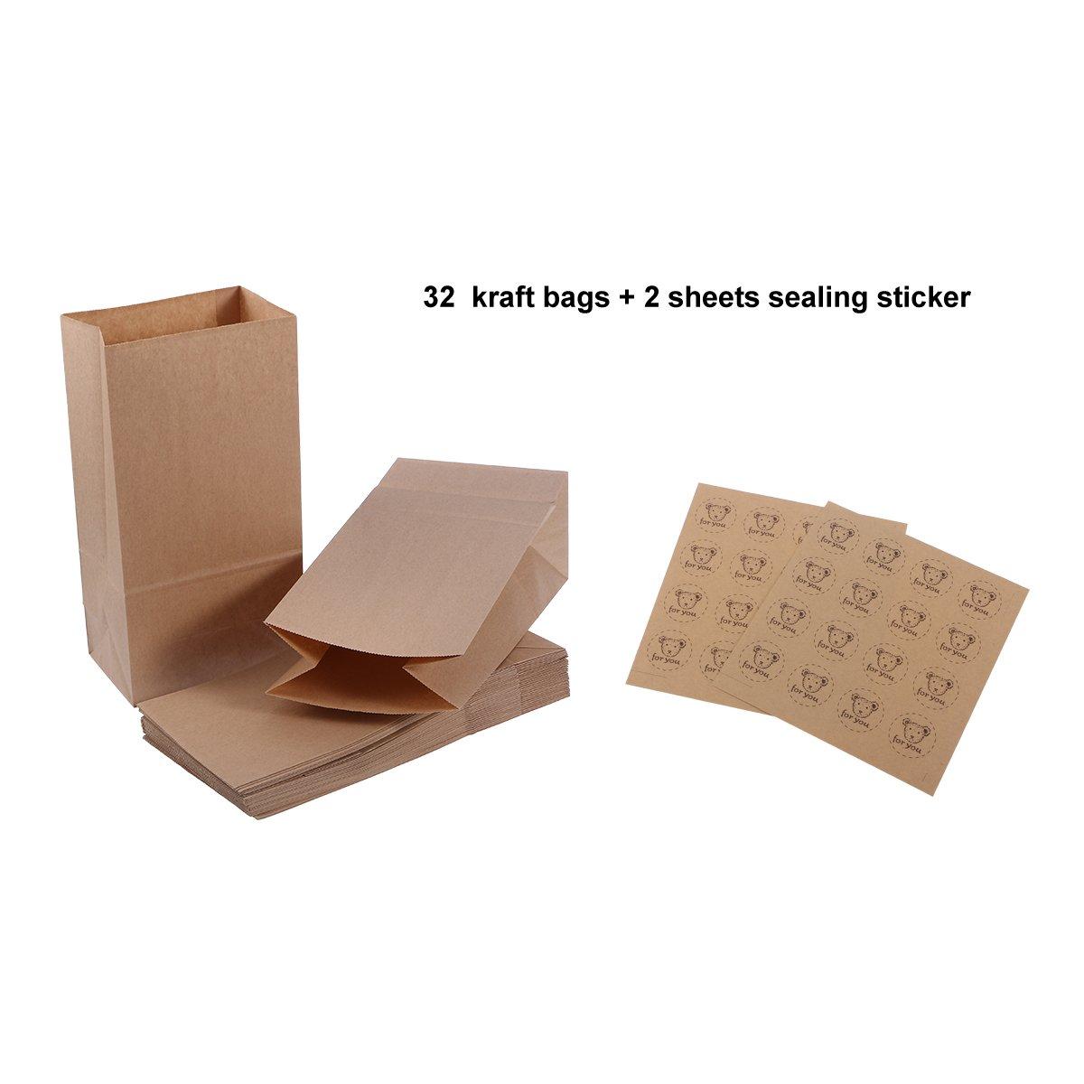 bbce745ad NUOLUX 32 pequeñas bolsas de papel kraft con suelo alimento favor de partido  70g con 2 etiquetas engomadas de lacre de la hoja: Amazon.es: Juguetes y  juegos