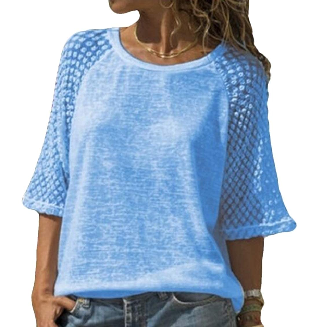Rrive Women 3//4 Sleeve O-Neck Lace Solid Stitch T-Shirt Tee