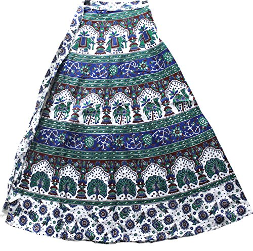 Wear Wrap Around Skirt (Creativegifts Cotton Bohemian-Style Wrap Around Adjustable Skirt in Colorful Elephant and Floral Print Casual Wear for Women (color-2324))