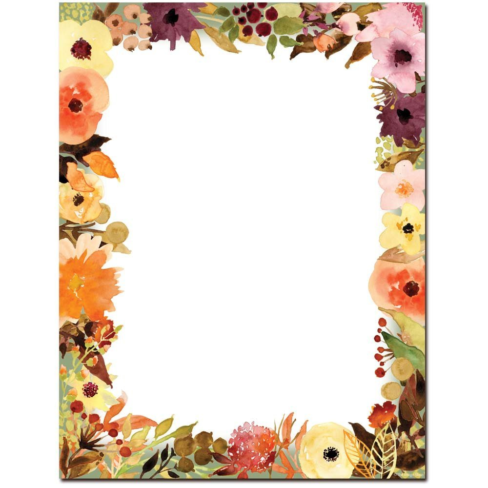 Amazon Com Fall Floral Letterhead Laser Inkjet Printer Paper