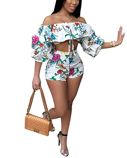 05d85fcf80 Women's Sexy Off Shoulder Ruffle Puff Sleeve Floral Print Bodycon 2 Piece  Outfits Romper Crop Top