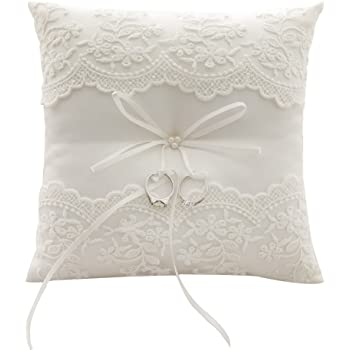 Awtlife Lace Pearl Wedding Ring Pillow Ivory Cushion Bearer 8.26 Inch For Beach wedding