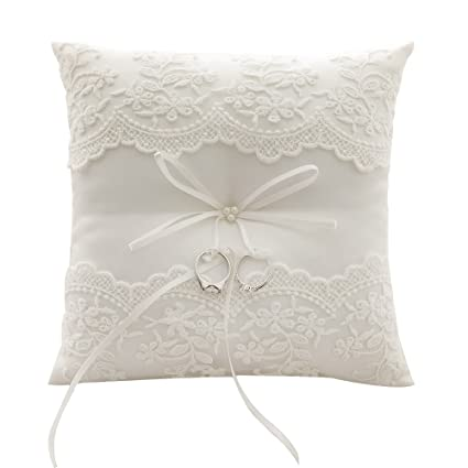 Amazoncom Awtlife Lace Pearl Wedding Ring Pillow Ivory Cushion