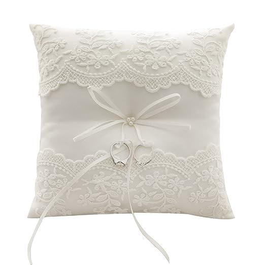 Almohada Awtlife de encaje para anillos de boda, de color perla marfil, 21 cm