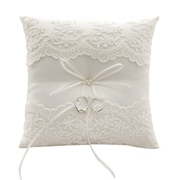 awtlife lace pearl wedding ring pillow ivory cushion bearer 826 inch for beach wedding - Wedding Ring Pillow